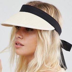 ASOS Beach Straw Hat with Black Tie